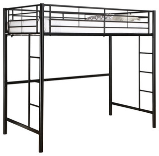 Tubular Steel Twin Size Lo' Bunk Bed, Black