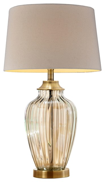 28 5 Tall Glass Table Lamp Athena With Antique Bronze Finish
