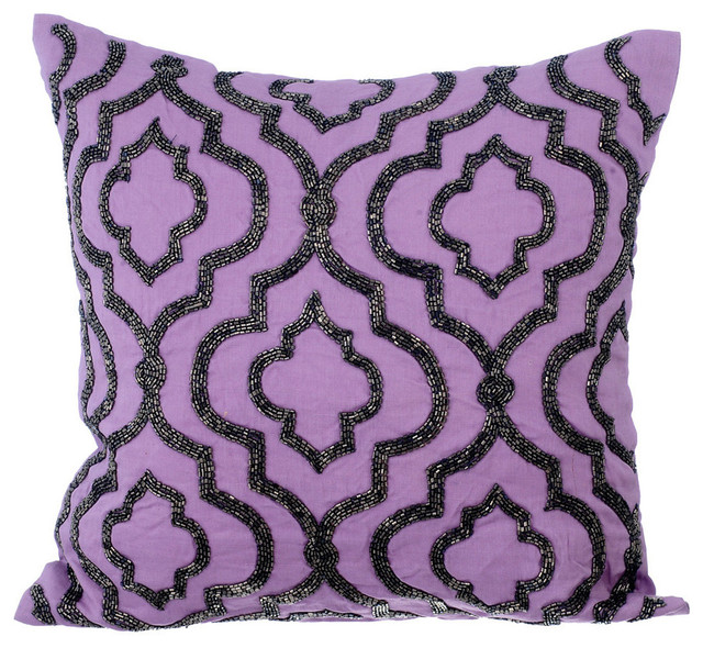 Purple Decorative Pillow Covers 22 X22 Cotton Bewitched