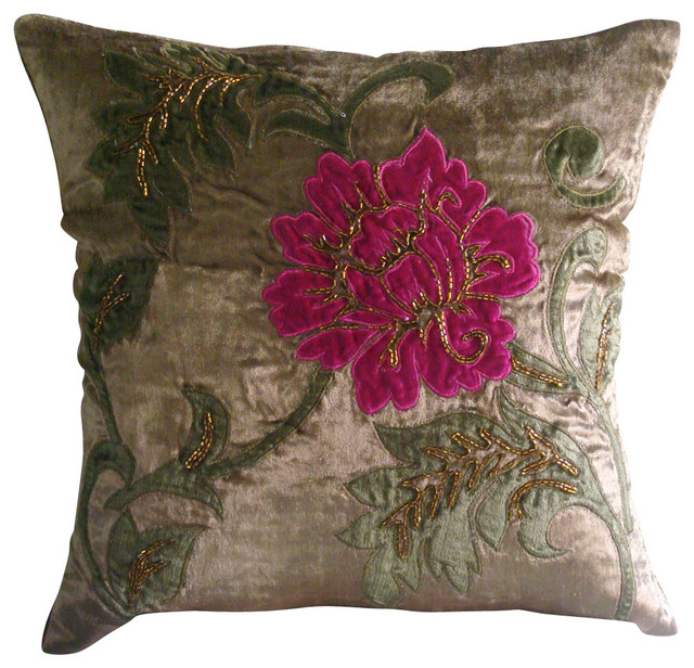 Brown Multicolor Applique Velvet Pillowcase Applique Blossom Magnificent Multicolored Decorative Pillows