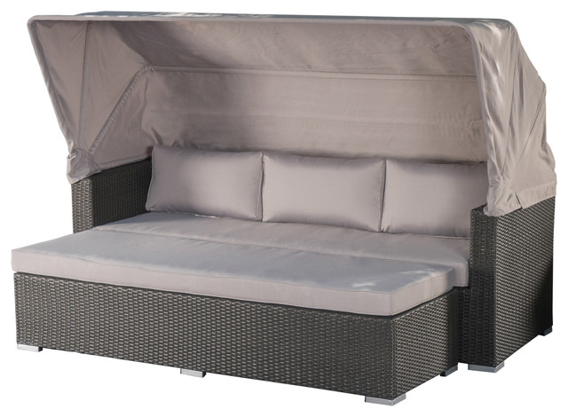 Grayson Outdoor Aluminum Framed Wicker Sofa And Canopy, Gray, Silver.