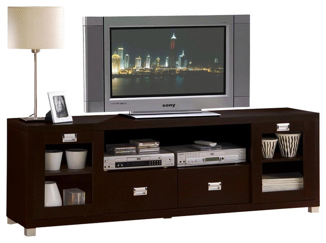 Contemporary Commerce Espresso Finish Tv Stand Cabinet Entertainment Console