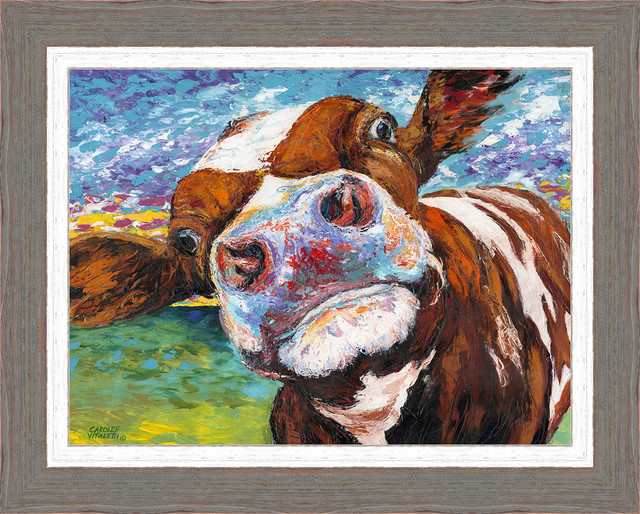 "Cow Wall Art curious cow i"" framed wall art, 25""x31"" - contemporary - prints"