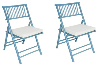 Phat Tommy Foldable Bamboo Chair, Cushion Set of 2, Powder Blue