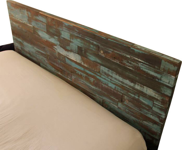 Reclaimed Wood Headboard Painted Green And Blue