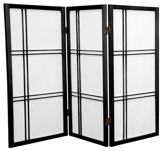 Tall Double Cross Shoji Screen - Black - 3 Panels asian-screens - 3 Ft. Tall Double Cross Shoji Screen - Asian - Screens And Room