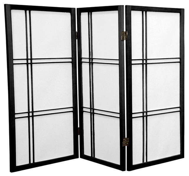 3 Tall Double Cross Shoji Screen Black Panels