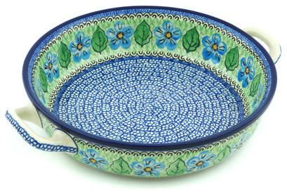 "Polmedia Polish Pottery 13"" Stoneware Round Baker With Handles."