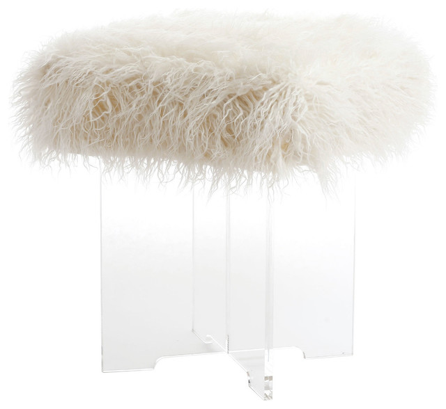 acrylic chair with fur. mongolian lamb faux fur clear acrylic cross leg stool contemporary-vanity-stools-and chair with
