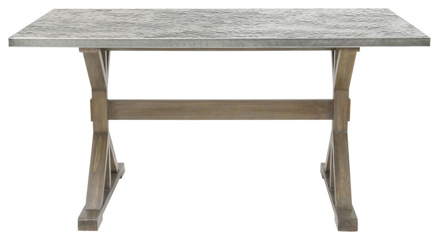 Lapo Industrial Stainless Steel Wood Rectangular Dining Table 72W