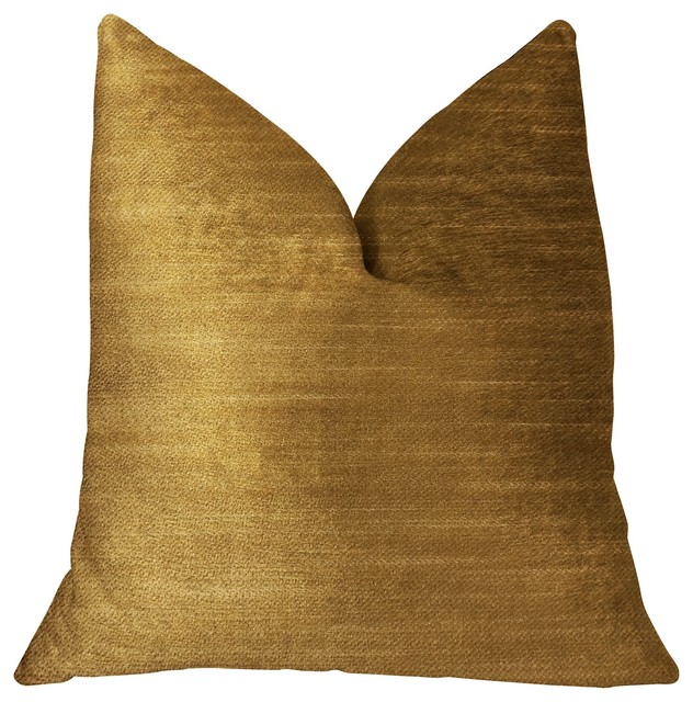 "Beverly  Gold Luxury Throw Pillow, 18""x18""."