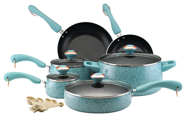 Paula Deen Collection Porcelain Nonstick 15-Piece Cookware Set, Aqua Speckle.