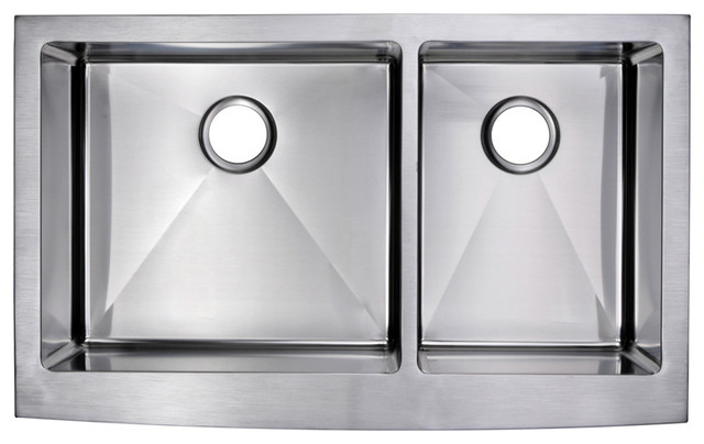 Corner Radius 60 40 Double Bowl Stainless Steel A Front Kitchen Sink Contemporary Sinks By Water Creation