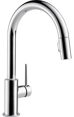 Delta Trinsic Single Handle Pull Down Kitchen Faucet, Chrome Contemporary  Kitchen Faucets