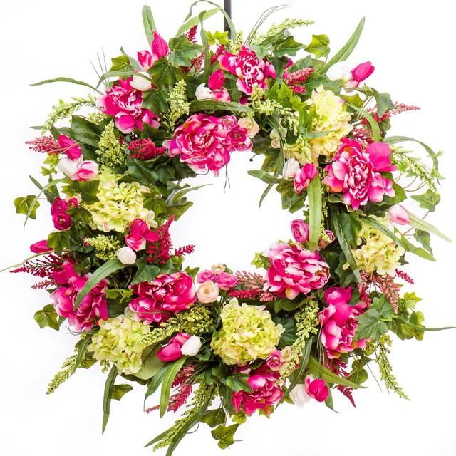 Pink Peony, Hydrangea And Tulip Wreath, 26.