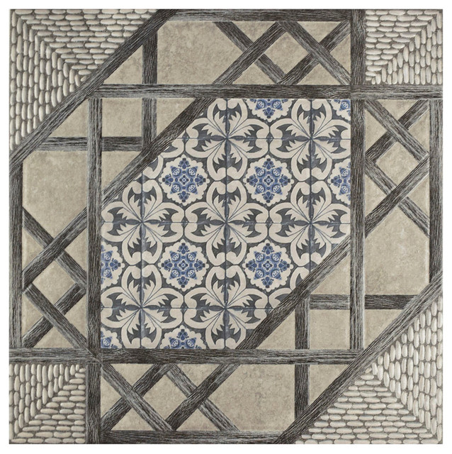 "Somertile 17.63""x17.63"" Oliva Gris Ceramic Floor And Wall Tiles, Set Of 5."