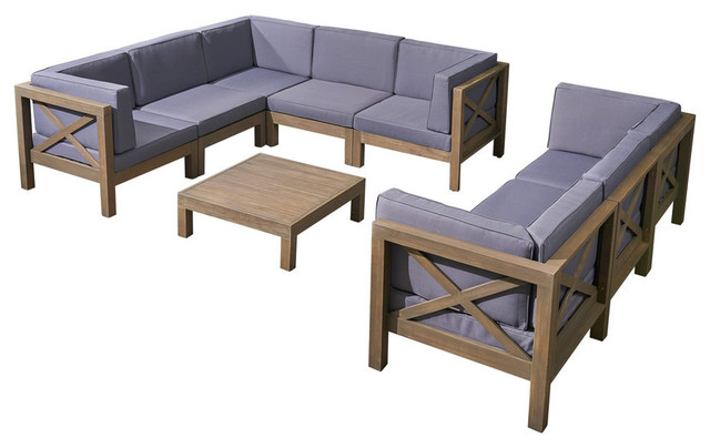 Astonishing Gdf Studio 9 Piece Cytheria Outdoor Sofa Set With Coffee Table Gray Dark Gray Caraccident5 Cool Chair Designs And Ideas Caraccident5Info