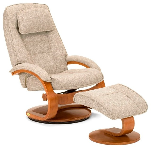 York Swivel Recliner And Ottoman, Linen.