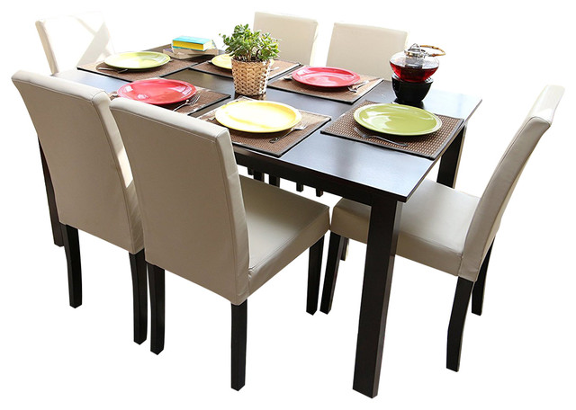Shop Houzz Imzi Home Ivory Leather 6 Person Table And Chairs Ivory Dining Dinette 7 Piece