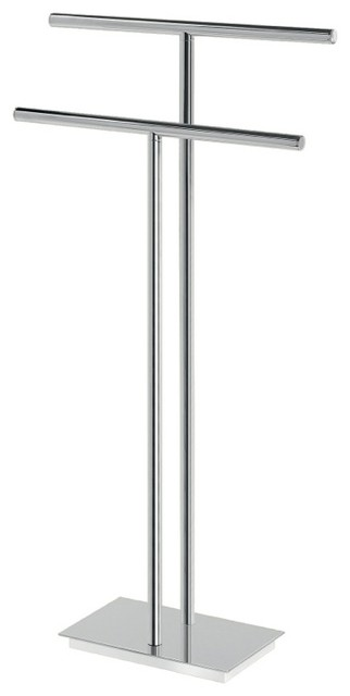 Floor Standing Chromed Brass And Steel Two Rail Towel Stand Modern Towel  Racks