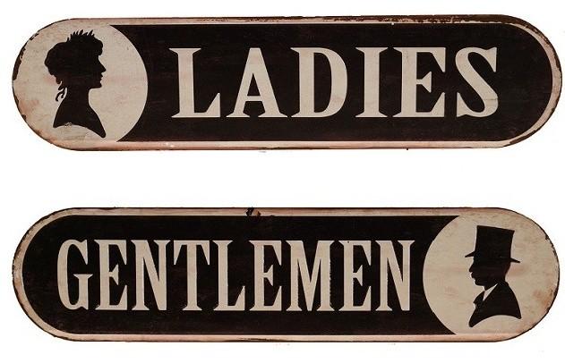 Vintage Style Metal Bathroom Signs