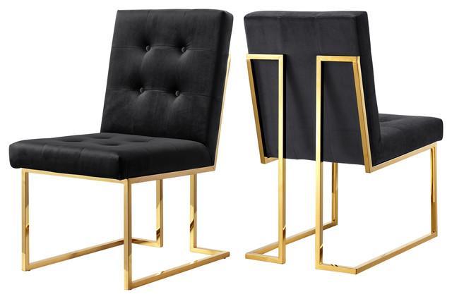 Ackermann Velvet Dining Chairs, Set Of 2, Black.