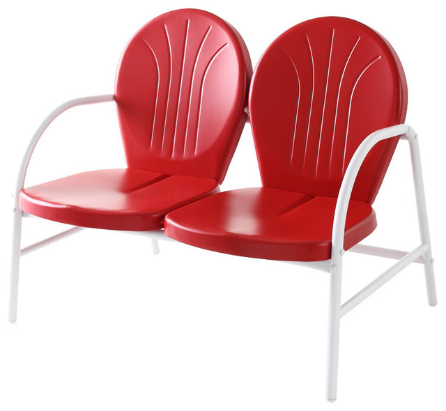 Griffith Metal Loveseat, Red Finish
