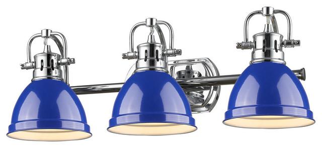 Duncan 3 Light Bath Vanity, Chrome With Blue Shade Traditional Bathroom  Vanity