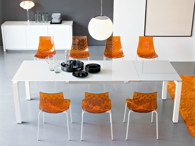 Plastic Dining Room Chairs Dining room with Calligaris Ice Metal and Plastic Chair modern-dining-room