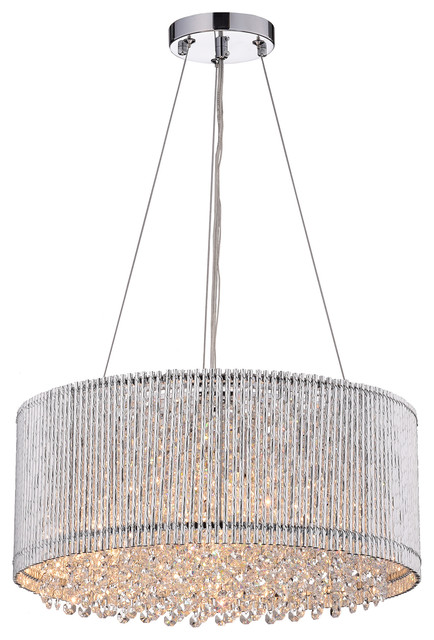 Pamina 4-Light Chrome Tubes Drum Shade Chandelier With Hanging Crystals