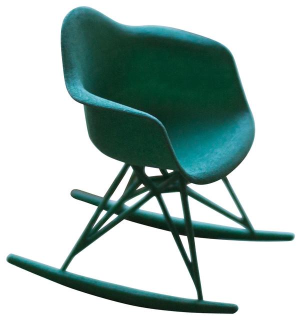 3d printed miniature eames rocker chair green contemporary