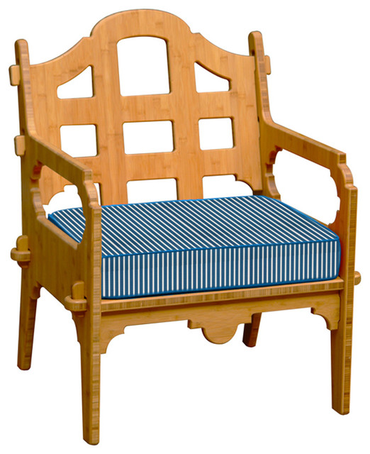 Palladian lounge chair with blue and white striped for Blue and white striped chaise lounge cushions