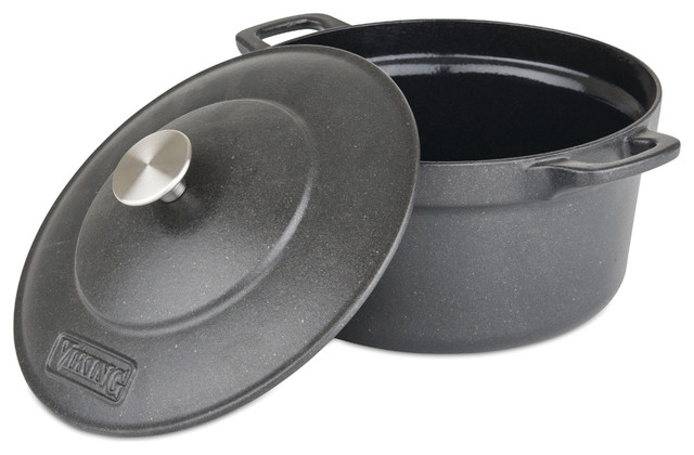 5 Qt Black Round Covered Dutch Oven Bail Handle Home Kitchen Casserole Cookware