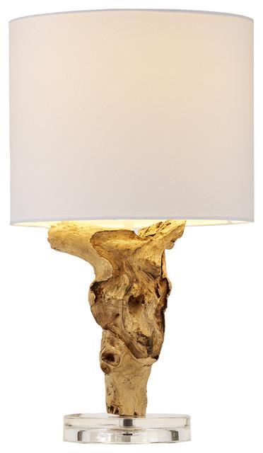 mini bleached teak root table lamp