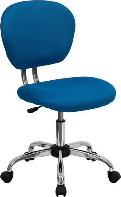 OffexMid-Back Turquoise Mesh Task Chair with Chrome Base