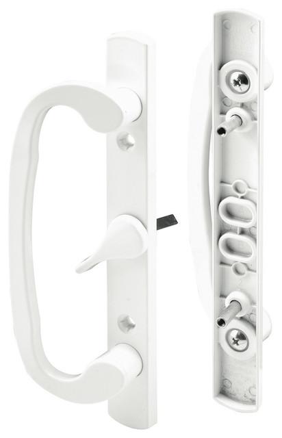 Prime Line C 1317 Sliding Door Handle Set, White, Centered Lever  Transitional