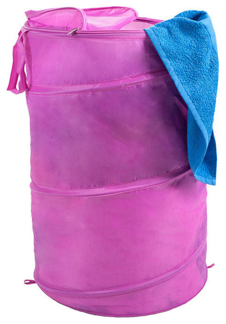 Lavish Home Breathable Pop Up Laundry Clothes Hamper, Pink.