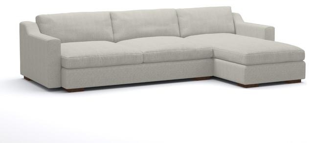 "Dupont Sofa, Cloud, Walnut Legs, Left Facing, 128""."