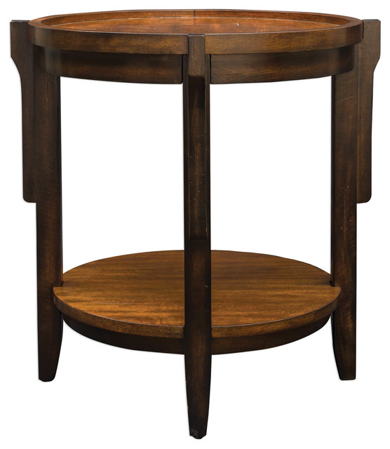 Sigmon Round Wooden End Table.