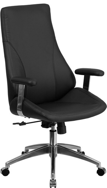 contemporary leather high office chair black. High Back Leather Executive Swivel Office Chair, Black Contemporary-office- Chairs Contemporary Chair
