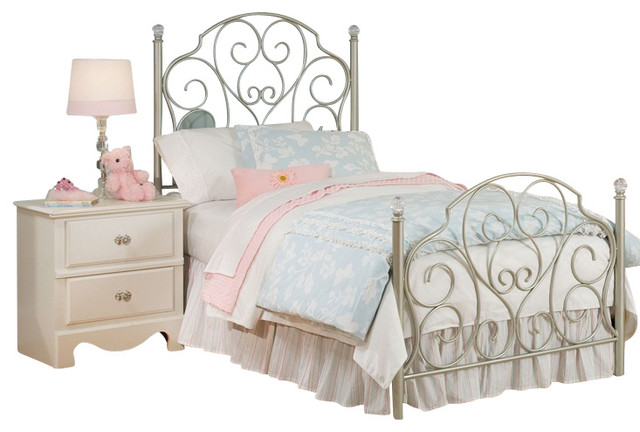 Superior Standard Furniture Spring Rose Metal Kids Bed In White   Twin