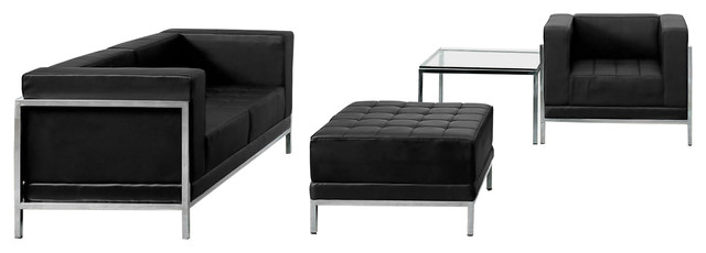 Hercules Imagination Series Black Leather Loveseat, Chair And Ottoman Set.