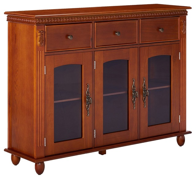 Wood Console Sideboard Buffet Table With Storage And Glass Doors, Walnut  Finish Traditional Buffets