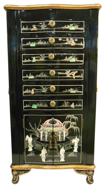 Oriental Jewelry Armoire Black Lacquer And Inlaid Asian