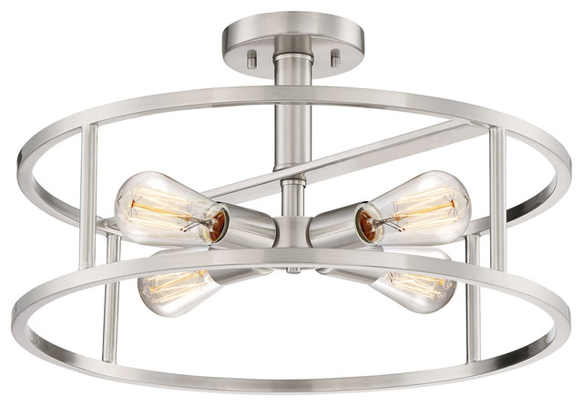 New Harbor 4-Light Semi-Flush Mounts, Brushed Nickel.