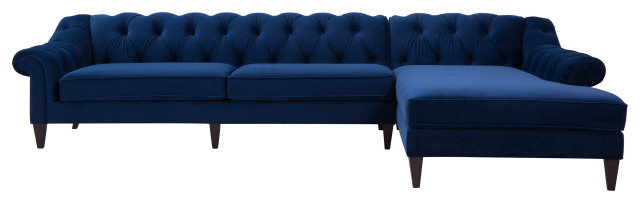 Tremendous Alexandra Tufted Right Sectional Sofa Navy Blue Pdpeps Interior Chair Design Pdpepsorg