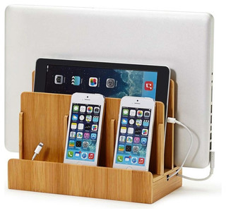 Bamboo Multi-Device Charging Station Dock, With USB Power Strip