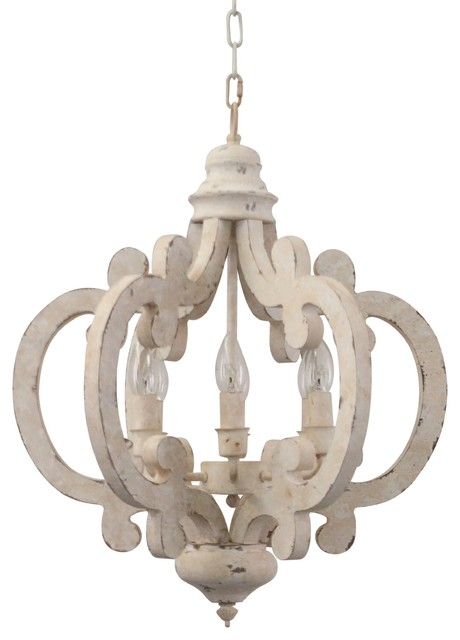 Cottage Chic Crown Wood Chandelier, 6-Light Farmhouse Wooden Pendant