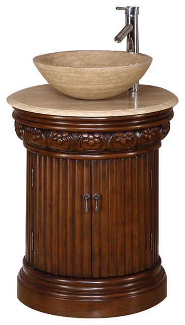 "Finch Single Sink Bathroom Vanity, Travertine Top, 24""."