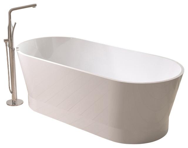 "Adm Oval Freestanding Bathtub, Matte White, 66.9""."